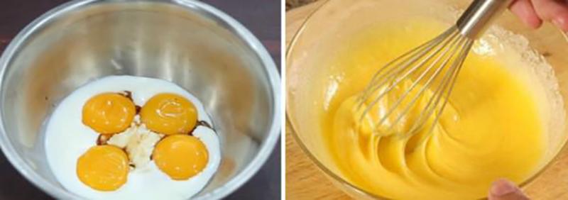 Trộn dầu ăn, sữa tươi và vani vào bát lòng đỏ trứng.